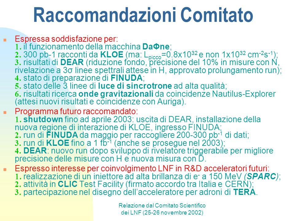 Relazione dal Comitato Scientifico dei LNF (25-26 novembre 2002) Raccomandazioni Comitato Espressa soddisfazione per: . il funzionamento della macchi