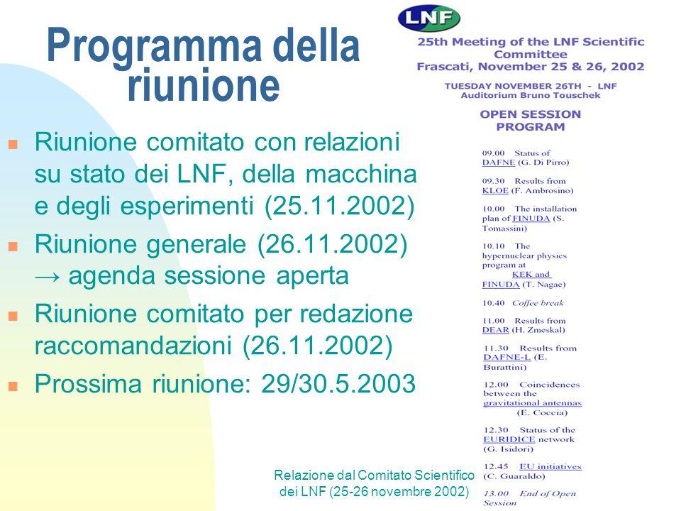 Relazione dal Comitato Scientifico dei LNF (25-26 novembre 2002) Programma della riunione Riunione comitato con relazioni su stato dei LNF, della macc