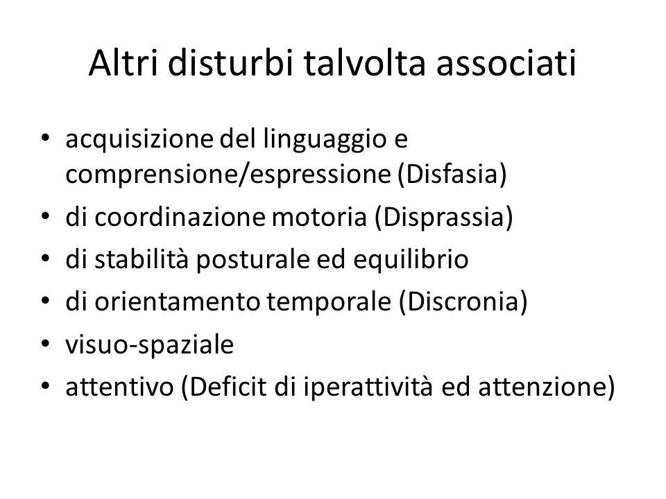 Altri disturbi talvolta associati acquisizione del linguaggio e comprensione/espressione (Disfasia) di coordinazione motoria (Disprassia) di stabilità