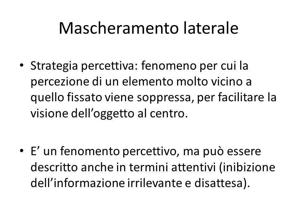 Mascheramento laterale Strategia percettiva: fenomeno per cui la percezione di un elemento molto vicino a quello fissato viene soppressa, per facilita