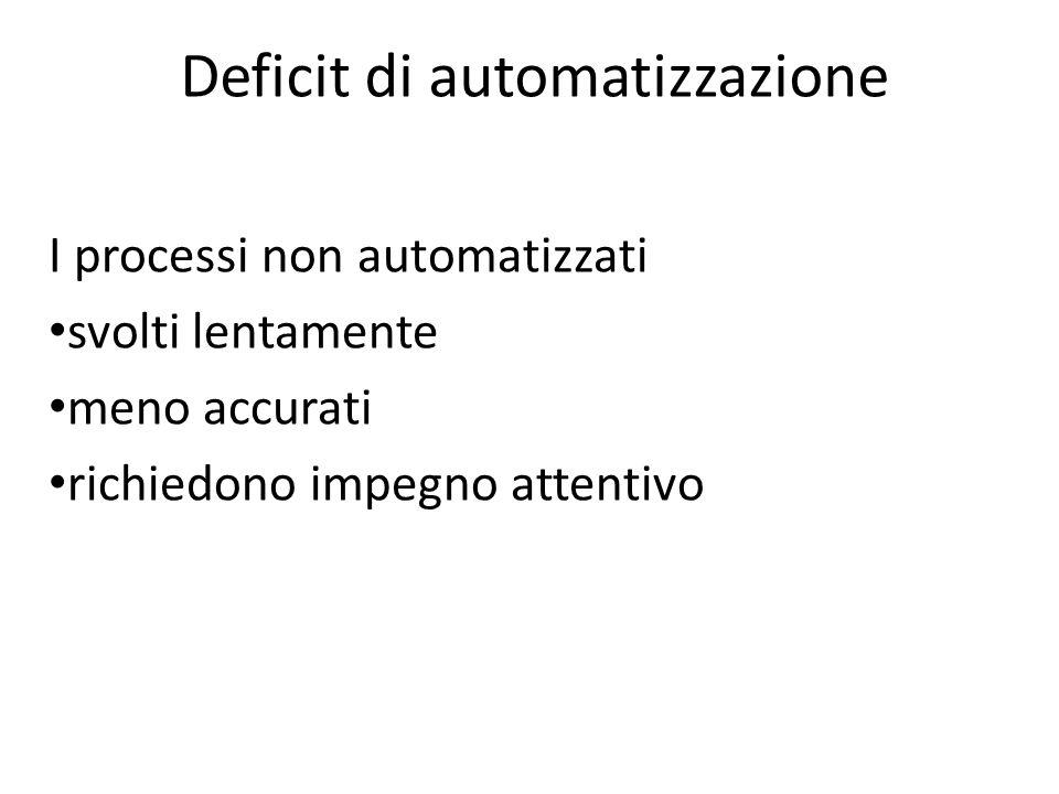I processi non automatizzati svolti lentamente meno accurati richiedono impegno attentivo Deficit di automatizzazione