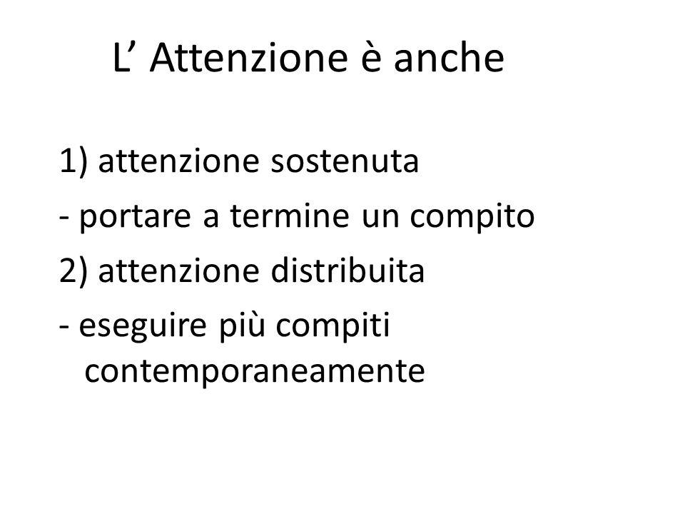 L' Attenzione è anche 1) attenzione sostenuta - portare a termine un compito 2) attenzione distribuita - eseguire più compiti contemporaneamente