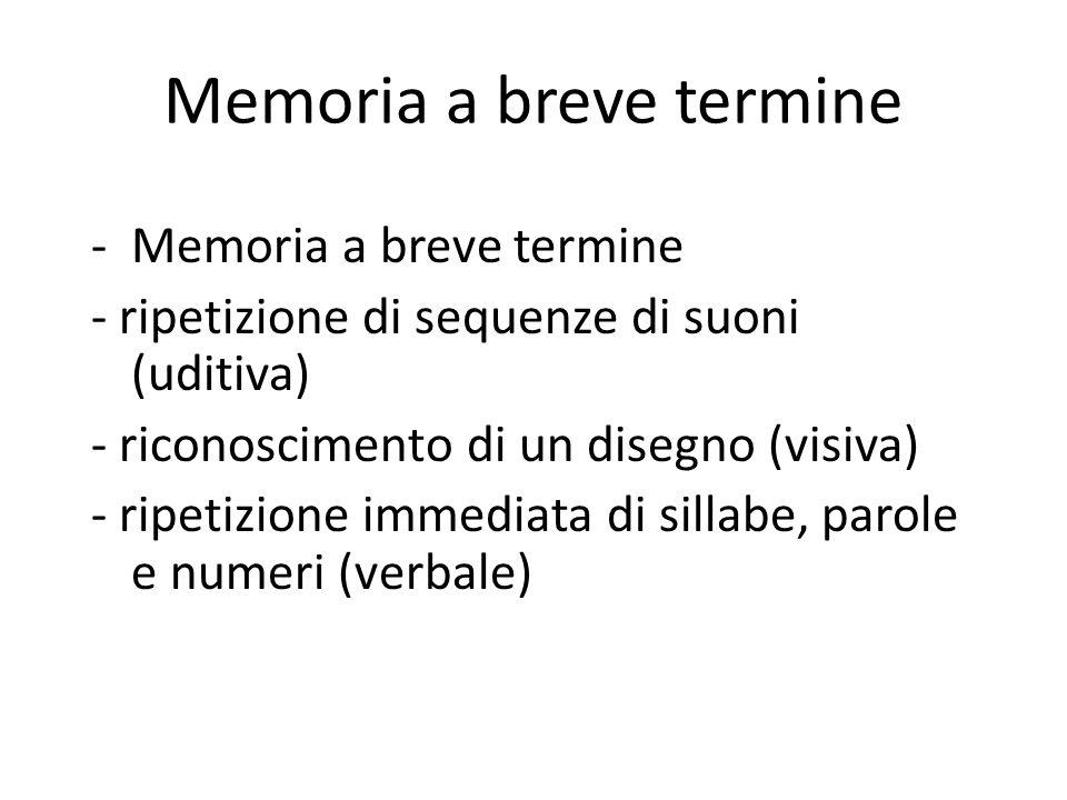 Memoria a breve termine -Memoria a breve termine - ripetizione di sequenze di suoni (uditiva) - riconoscimento di un disegno (visiva) - ripetizione im