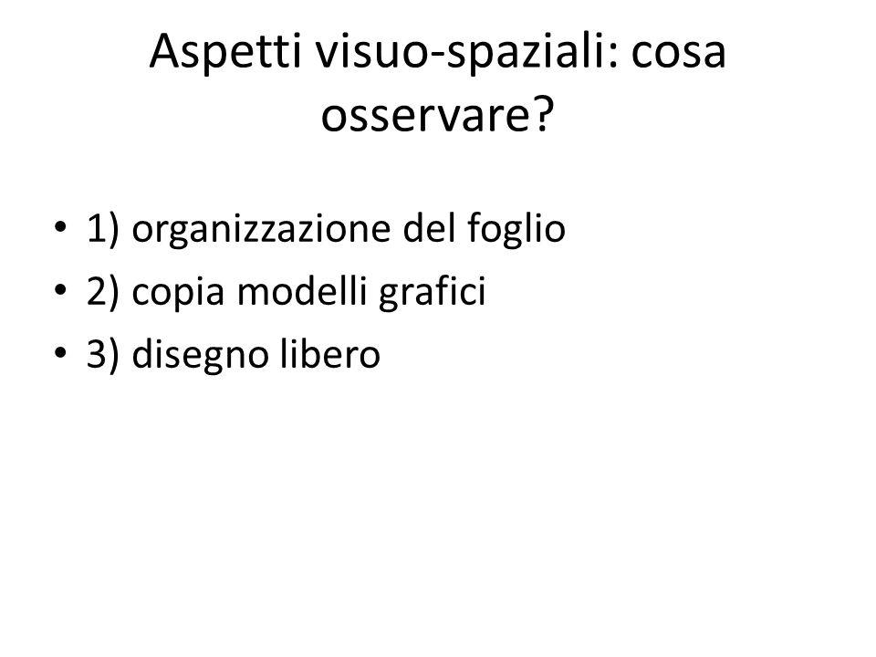 Aspetti visuo-spaziali: cosa osservare? 1) organizzazione del foglio 2) copia modelli grafici 3) disegno libero