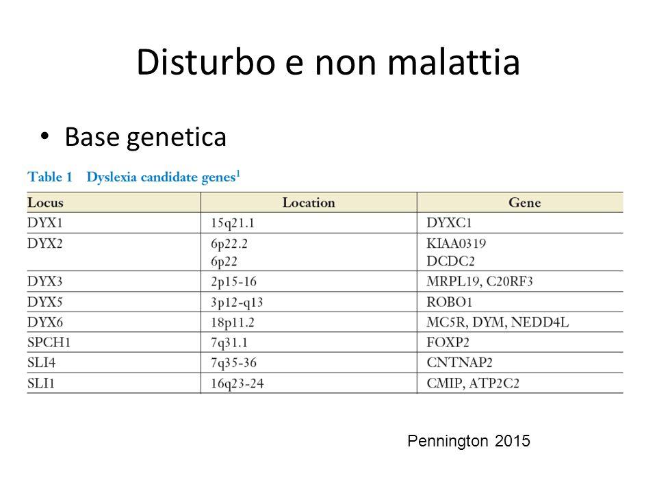 Disturbo e non malattia Base genetica Pennington 2015