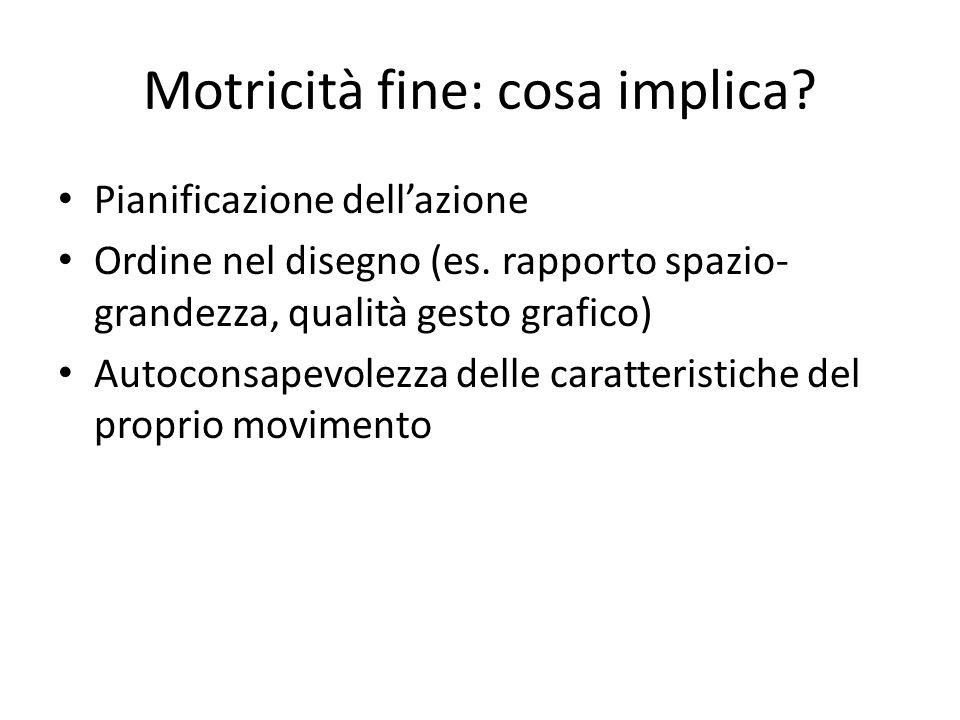 Motricità fine: cosa implica? Pianificazione dell'azione Ordine nel disegno (es. rapporto spazio- grandezza, qualità gesto grafico) Autoconsapevolezza