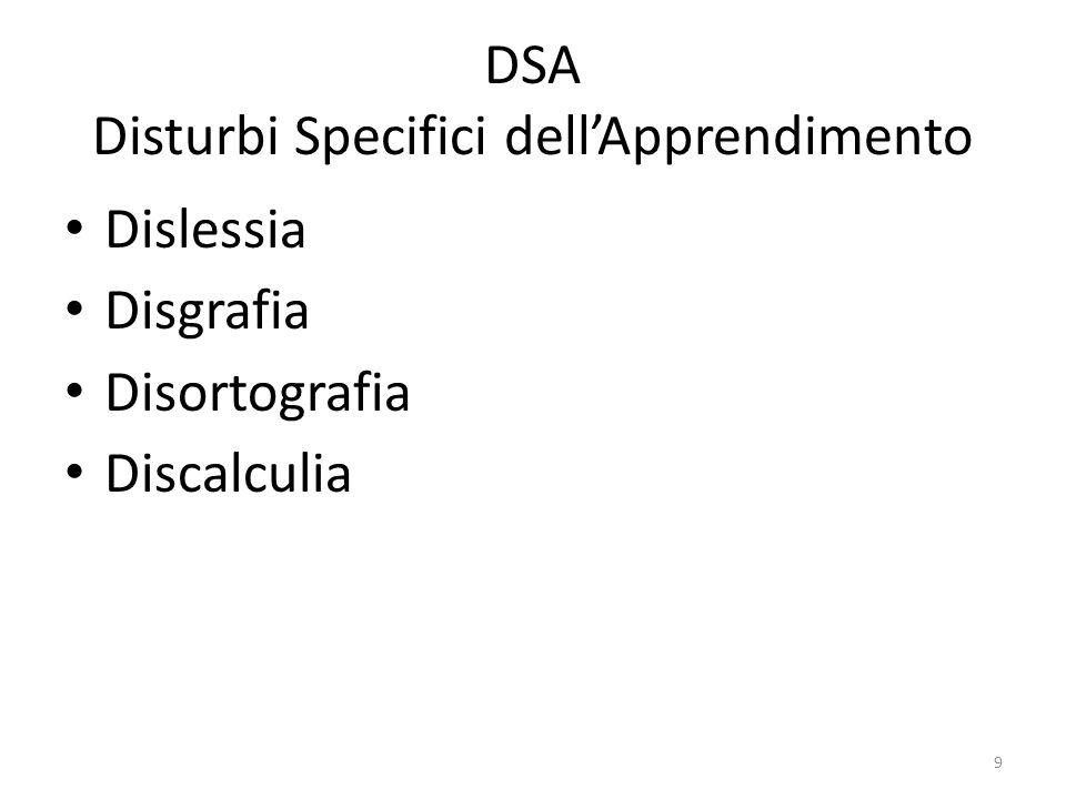 DSA Disturbi Specifici dell'Apprendimento Dislessia Disgrafia Disortografia Discalculia 9
