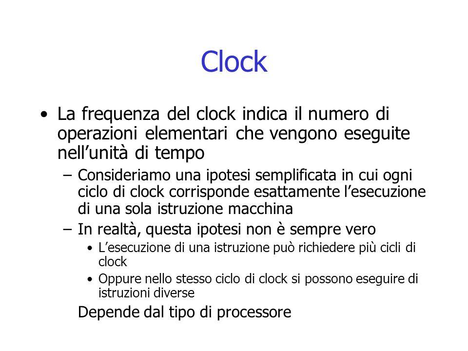 Clock La frequenza del clock indica il numero di operazioni elementari che vengono eseguite nell'unità di tempo –Consideriamo una ipotesi semplificata