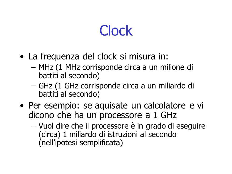 Clock La frequenza del clock si misura in: –MHz (1 MHz corrisponde circa a un milione di battiti al secondo) –GHz (1 GHz corrisponde circa a un miliar
