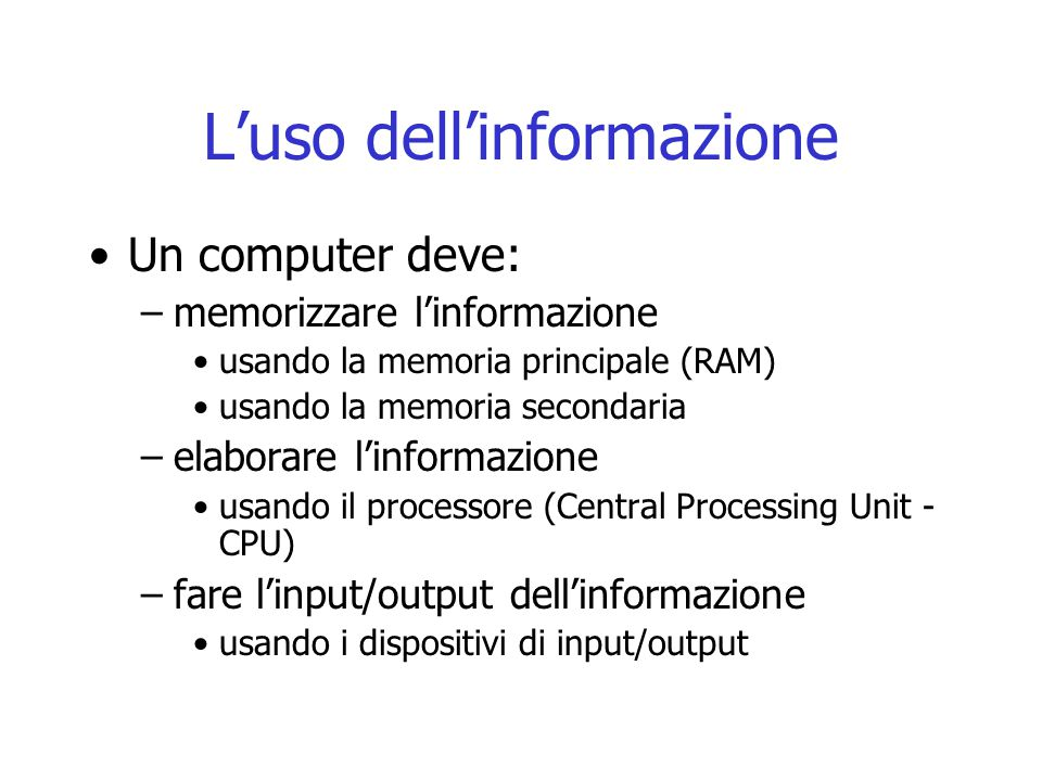 Componenti del processore (CPU) Unità di controllo Unità aritmetico logica Program Counter REGISTRI Registro di Stato Bus Interno Registro Istruzioni Registri Generali 8 o 16 … Registro Indirizzi Memoria Registro Dati Memoria Registro di Controllo