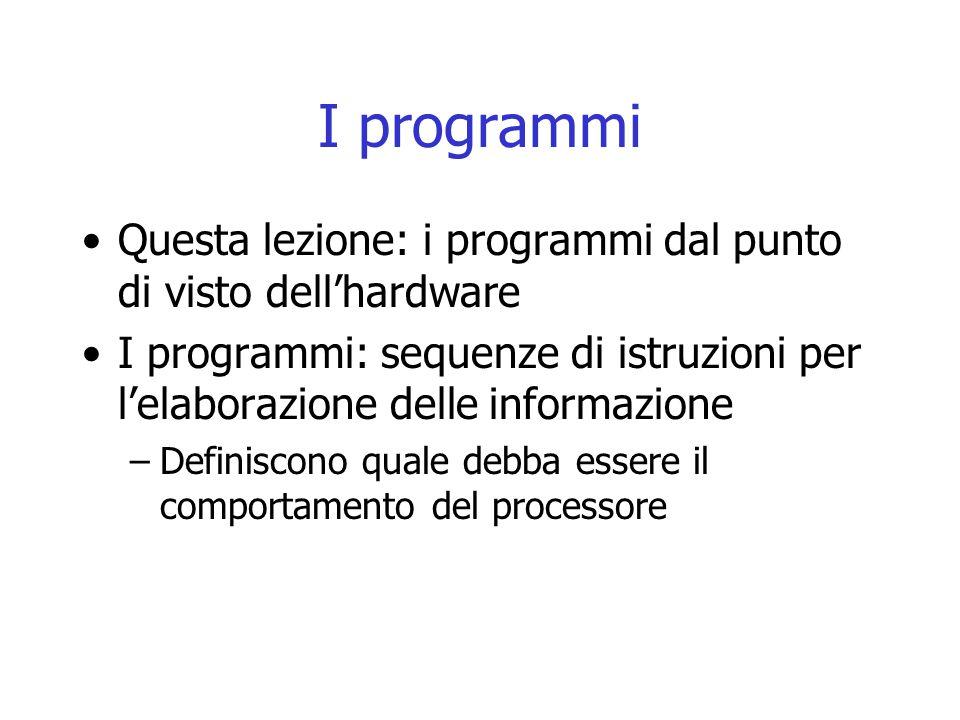 I programmi I programmi e i dati risiedono nel memoria secondaria Per essere eseguiti (i programmi) e usati (i dati) vengono copiati nella memoria principale Il processore è in grado di eseguire le istruzioni di cui sono composti i programmi
