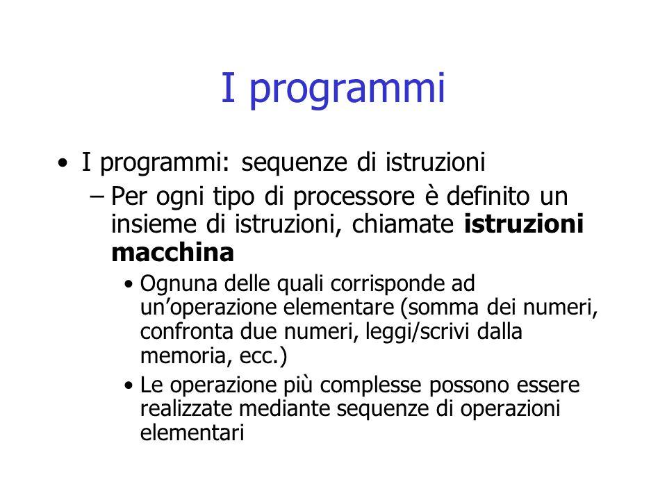 I programmi Il linguaggio in cui si scrivono queste istruzioni prende il nome di linguaggio macchina –Una sequenza di tali istruzioni prende il nome di programma in linguaggio macchina Il ruolo del processore: –Eseguire programmi in linguaggio macchina