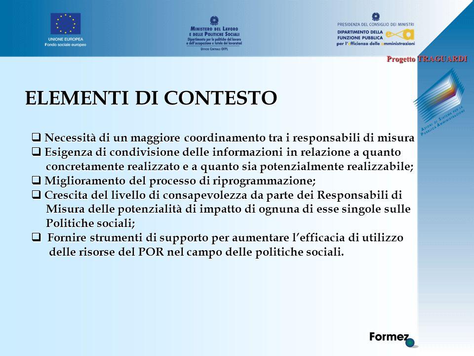 Progetto TRAGUARDI ELEMENTI DI CONTESTO  Necessità di un maggiore coordinamento tra i responsabili di misura  Esigenza di condivisione delle informa