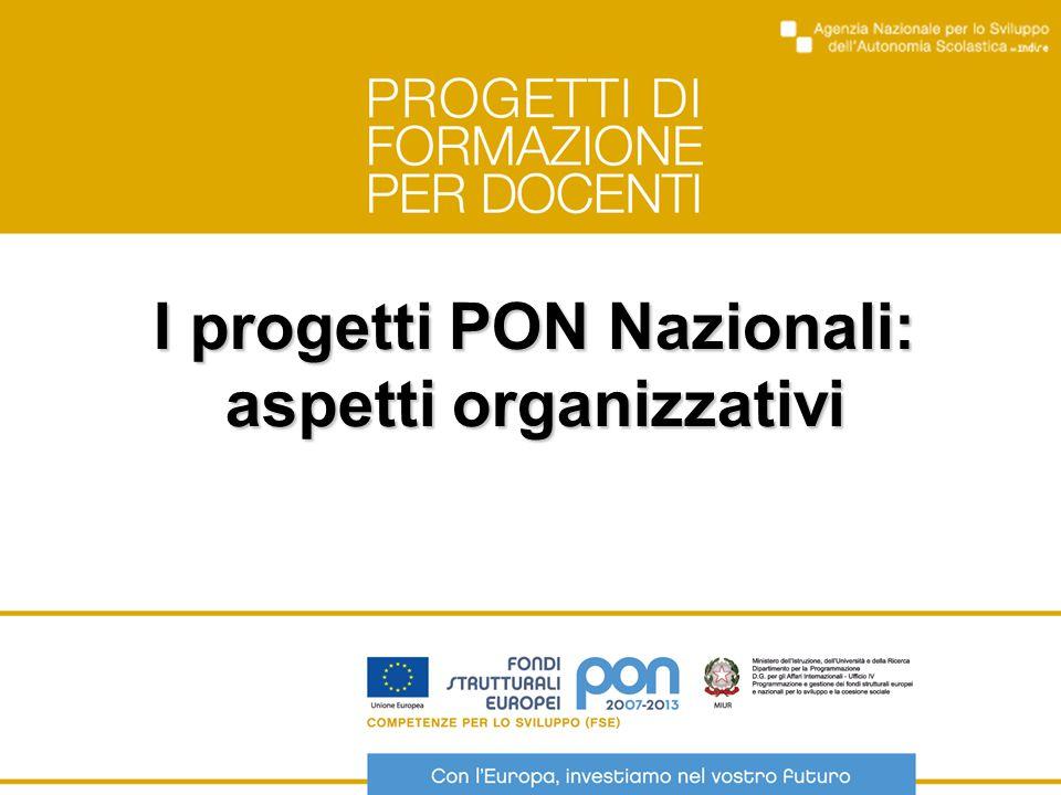I progetti PON Nazionali: aspetti organizzativi