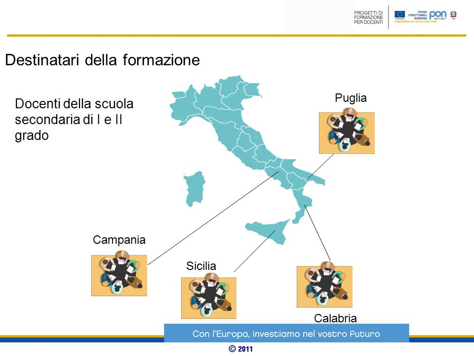 Presìdi Campania Sicilia Calabria Puglia Destinatari della formazione Docenti della scuola secondaria di I e II grado