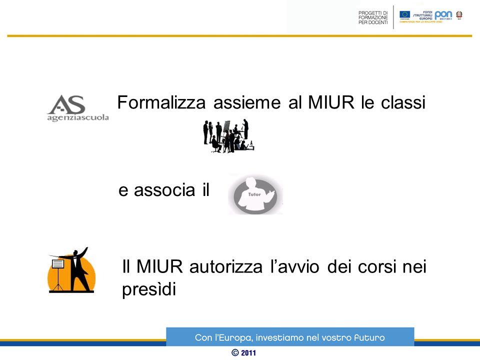 Formalizza assieme al MIUR le classi Il MIUR autorizza l'avvio dei corsi nei presìdi e associa il