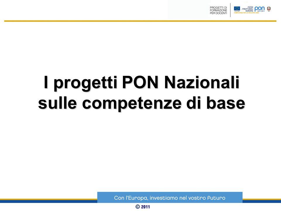 I progetti PON Nazionali sulle competenze di base