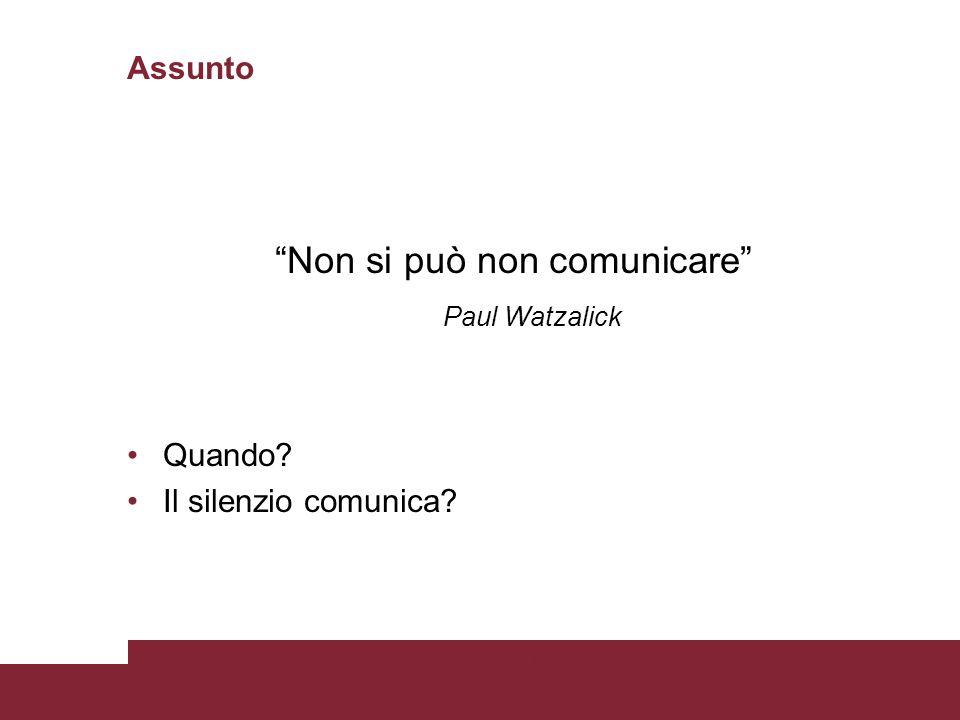 """Assunto """"Non si può non comunicare"""" Paul Watzalick Quando? Il silenzio comunica? 17/07/2015Titolo PresentazionePagina 6"""