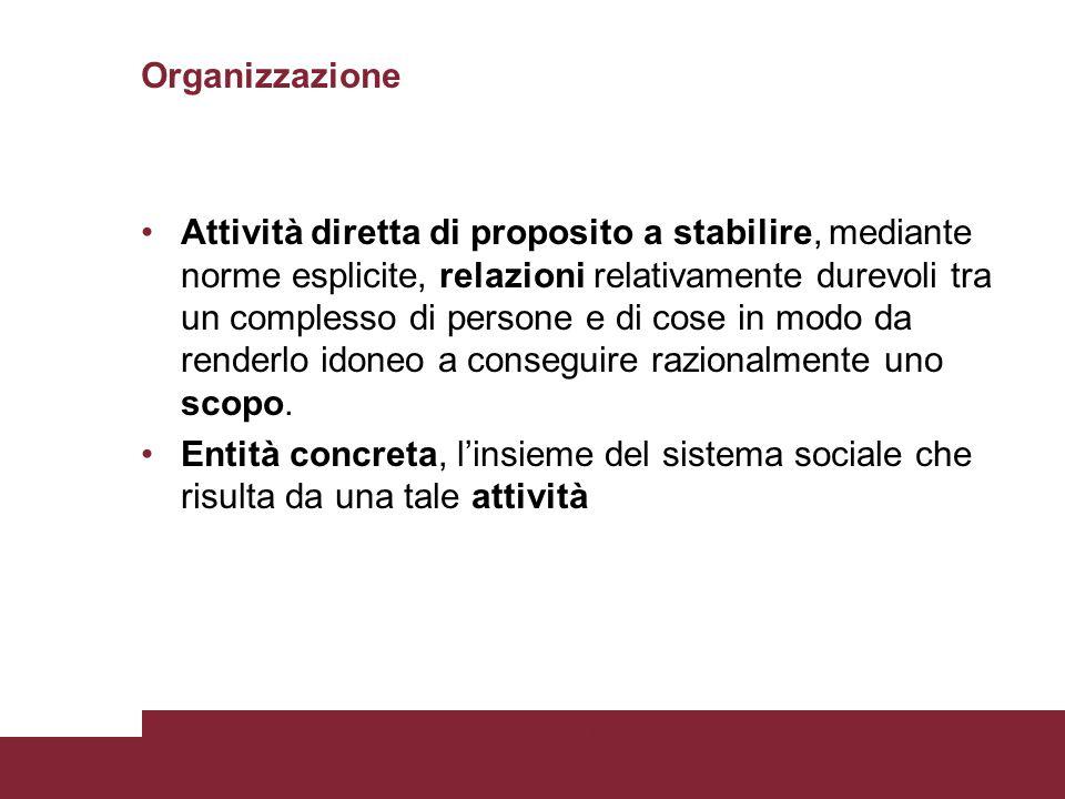 Organizzazione Attività diretta di proposito a stabilire, mediante norme esplicite, relazioni relativamente durevoli tra un complesso di persone e di