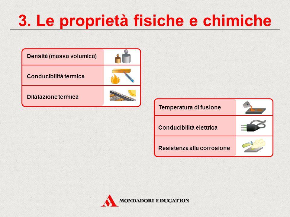 2. Le proprietà dei materiali LE PROPRIETÀ DEI MATERIALI SI DIVIDONO IN: proprietà fisiche e chimiche proprietà meccaniche proprietà tecnologiche