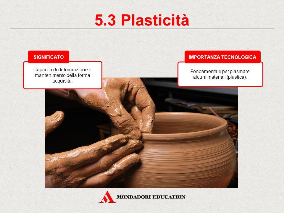 5.2 Elasticità Importante per quei materiali che si deformano e che devono riprendere la forma iniziale (pneumatici). IMPORTANZA TECNOLOGICA Attitudin
