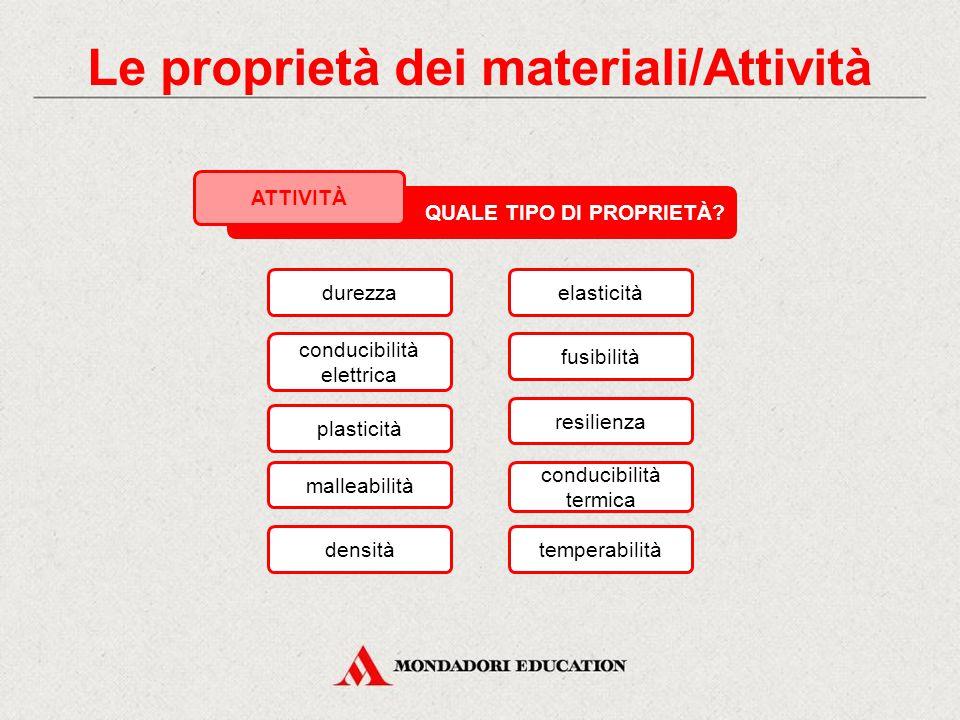 Tra le proprietà elencate nella slide seguente, cerchia in rosso quelle fisiche o chimiche, in verde quelle tecnologiche, in blu quelle meccaniche. QU