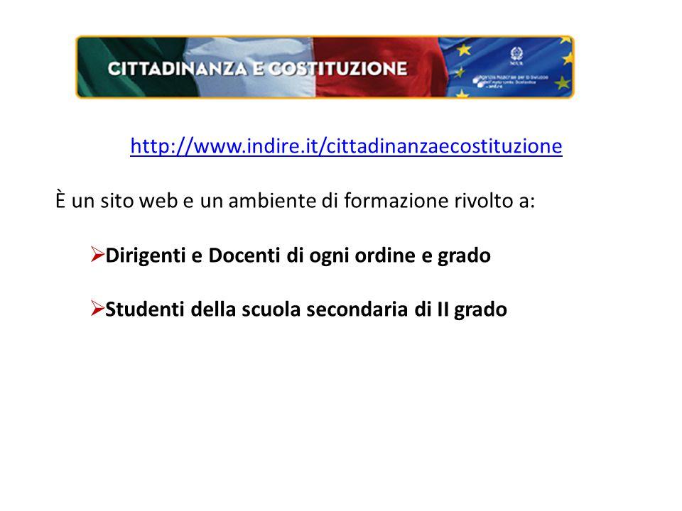 http://www.indire.it/cittadinanzaecostituzione È un sito web e un ambiente di formazione rivolto a:  Dirigenti e Docenti di ogni ordine e grado  Studenti della scuola secondaria di II grado