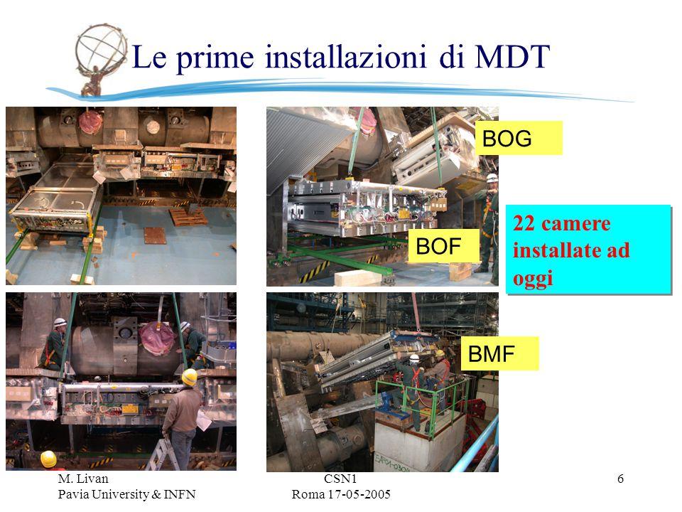 M. Livan Pavia University & INFN CSN1 Roma 17-05-2005 6 Le prime installazioni di MDT BOF BOG BMF 22 camere installate ad oggi