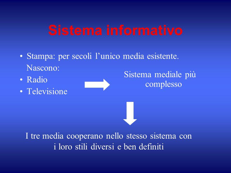 Sistema informativo Stampa: per secoli l'unico media esistente. Nascono: Radio Televisione I tre media cooperano nello stesso sistema con i loro stili