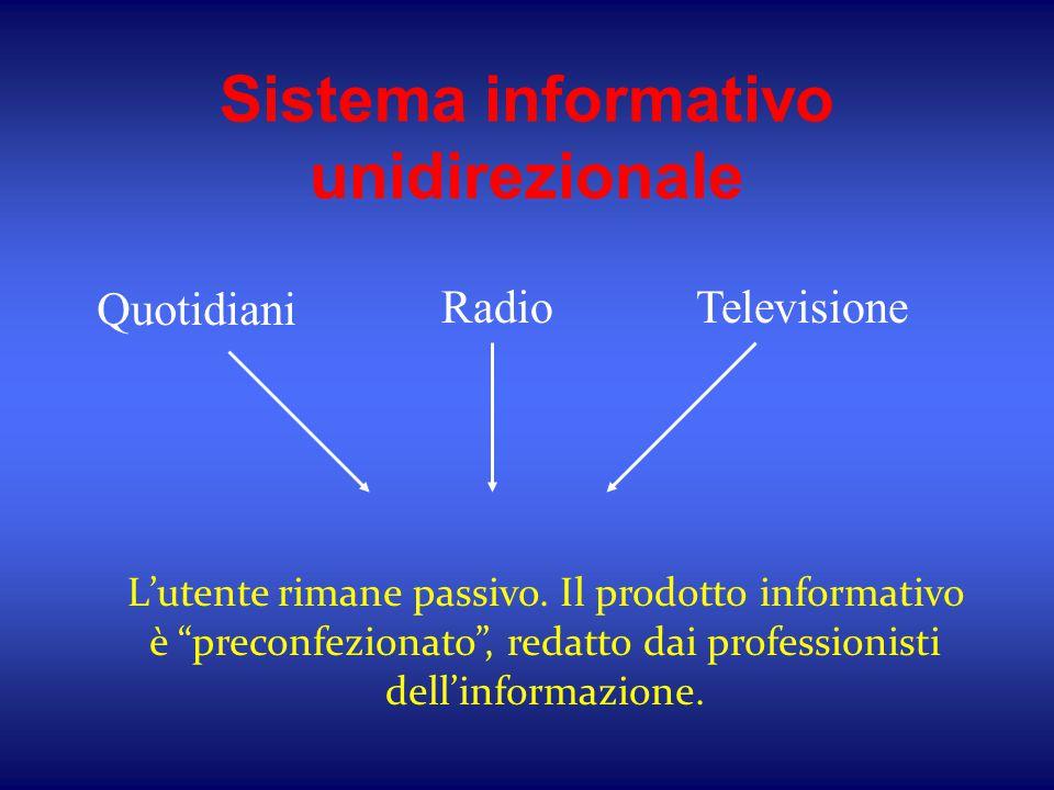 """Sistema informativo unidirezionale Quotidiani RadioTelevisione L'utente rimane passivo. Il prodotto informativo è """"preconfezionato"""", redatto dai profe"""