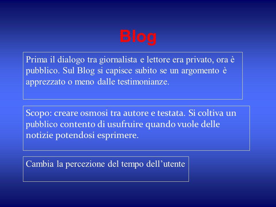 Blog Prima il dialogo tra giornalista e lettore era privato, ora è pubblico. Sul Blog si capisce subito se un argomento è apprezzato o meno dalle test