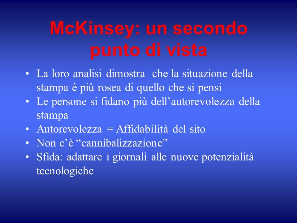 McKinsey: un secondo punto di vista La loro analisi dimostra che la situazione della stampa è più rosea di quello che si pensi Le persone si fidano pi