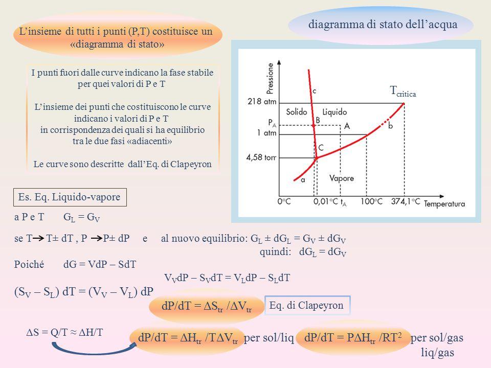 L'insieme di tutti i punti (P,T) costituisce un «diagramma di stato» diagramma di stato dell'acqua I punti fuori dalle curve indicano la fase stabile per quei valori di P e T L'insieme dei punti che costituiscono le curve indicano i valori di P e T in corrispondenza dei quali si ha equilibrio tra le due fasi «adiacenti» Le curve sono descritte dall'Eq.