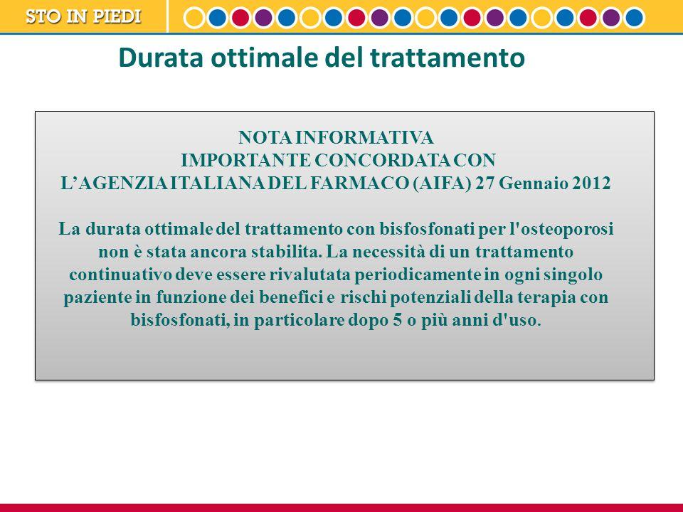 NOTA INFORMATIVA IMPORTANTE CONCORDATA CON L'AGENZIA ITALIANA DEL FARMACO (AIFA) 27 Gennaio 2012 La durata ottimale del trattamento con bisfosfonati p