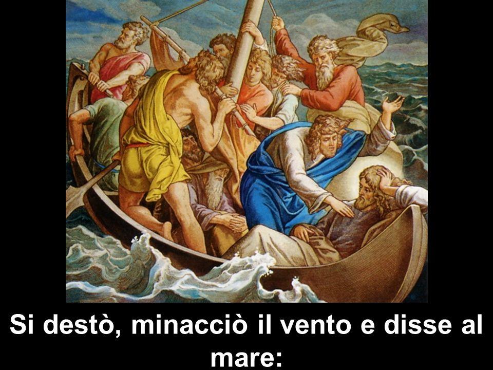 Si destò, minacciò il vento e disse al mare: