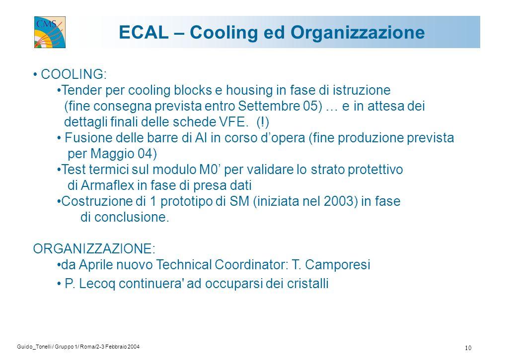 Guido_Tonelli / Gruppo 1/ Roma/2-3 Febbraio 2004 10 ECAL – Cooling ed Organizzazione COOLING: Tender per cooling blocks e housing in fase di istruzione (fine consegna prevista entro Settembre 05) … e in attesa dei dettagli finali delle schede VFE.