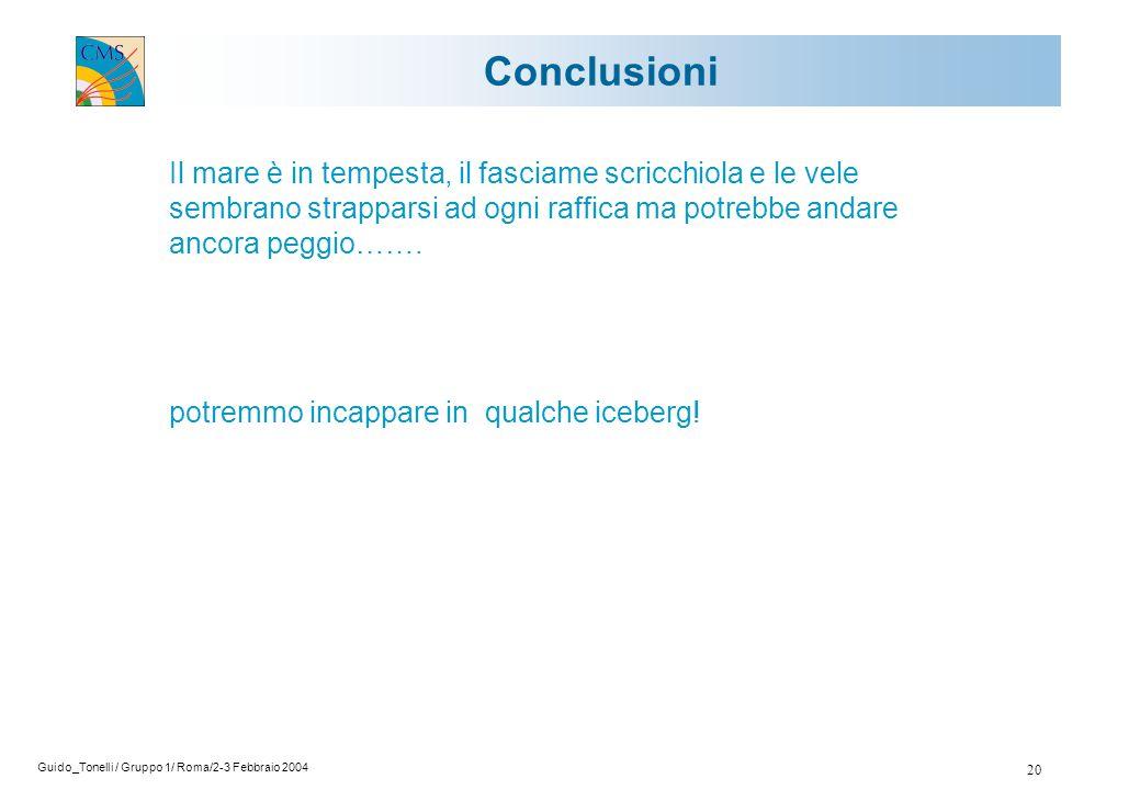 Guido_Tonelli / Gruppo 1/ Roma/2-3 Febbraio 2004 20 Conclusioni Il mare è in tempesta, il fasciame scricchiola e le vele sembrano strapparsi ad ogni raffica ma potrebbe andare ancora peggio…….