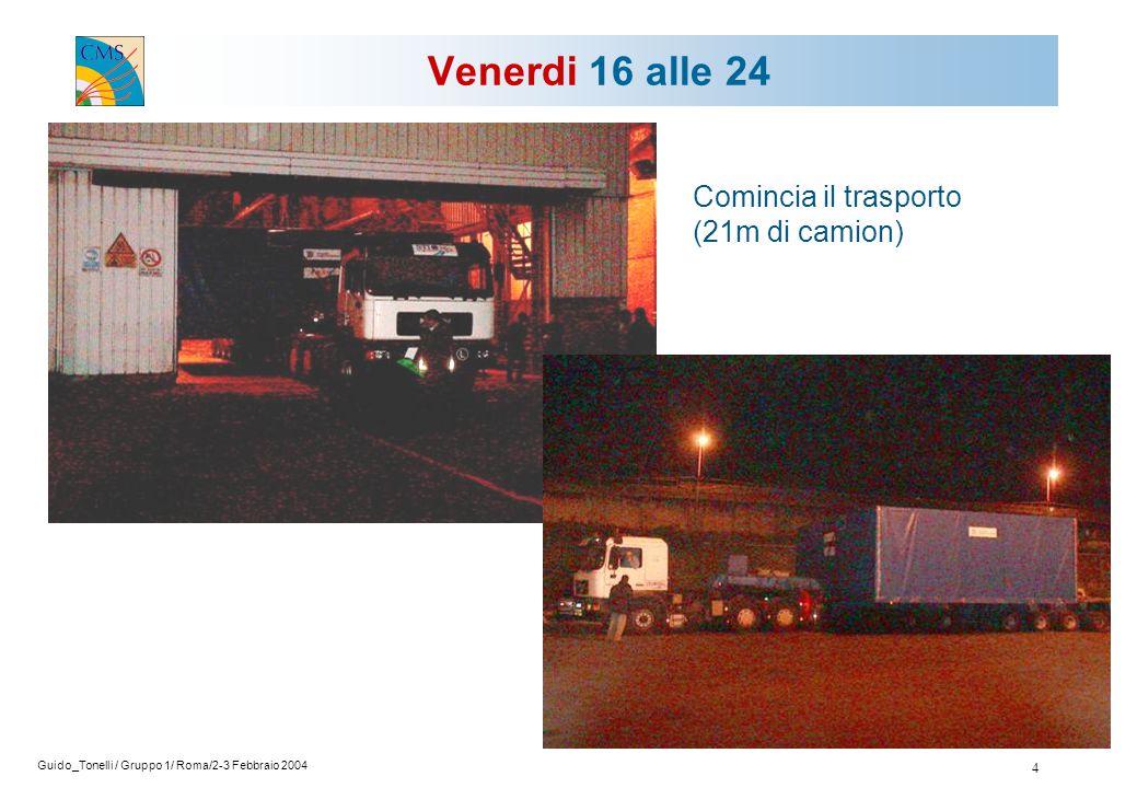 Guido_Tonelli / Gruppo 1/ Roma/2-3 Febbraio 2004 4 Venerdi 16 alle 24 Comincia il trasporto (21m di camion)