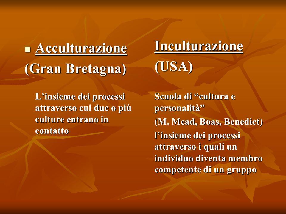 Acculturazione Acculturazione (Gran Bretagna) L'insieme dei processi attraverso cui due o più culture entrano in contatto Inculturazione(USA) Scuola di cultura e personalità (M.