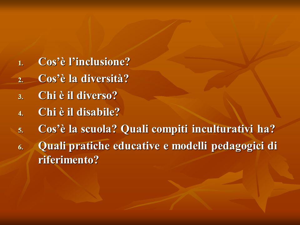 1. Cos'è l'inclusione? 2. Cos'è la diversità? 3. Chi è il diverso? 4. Chi è il disabile? 5. Cos'è la scuola? Quali compiti inculturativi ha? 6. Quali