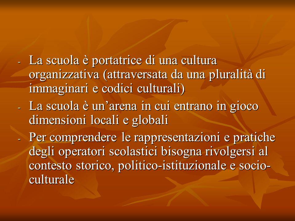 - La scuola è portatrice di una cultura organizzativa (attraversata da una pluralità di immaginari e codici culturali) - La scuola è un'arena in cui e