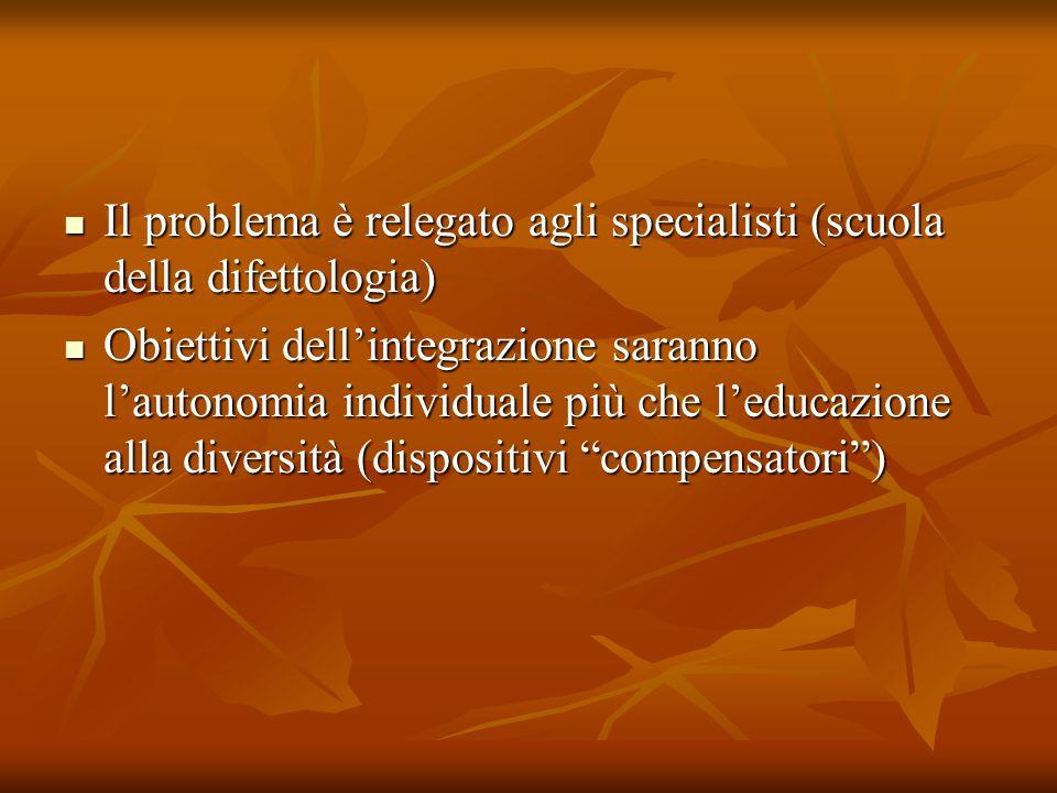 Il problema è relegato agli specialisti (scuola della difettologia) Il problema è relegato agli specialisti (scuola della difettologia) Obiettivi dell