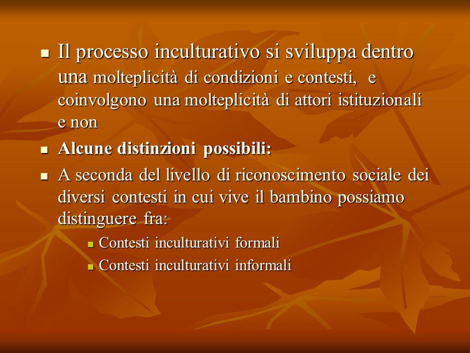 Il processo inculturativo si sviluppa dentro una molteplicità di condizioni e contesti, e coinvolgono una molteplicità di attori istituzionali e non I