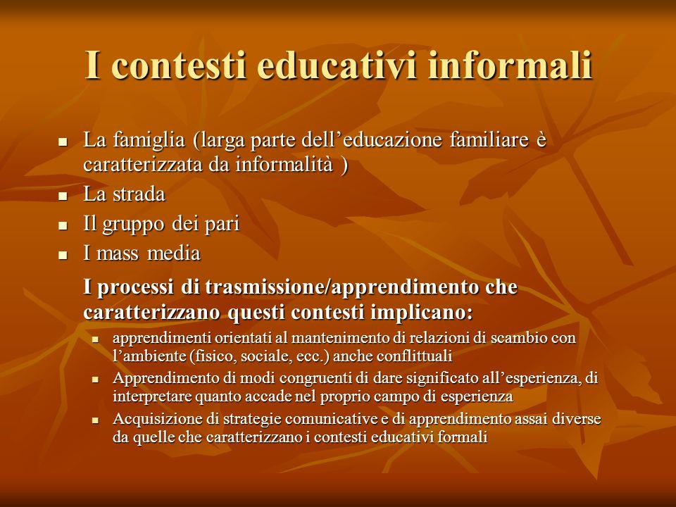 I contesti educativi informali La famiglia (larga parte dell'educazione familiare è caratterizzata da informalità ) La famiglia (larga parte dell'educ