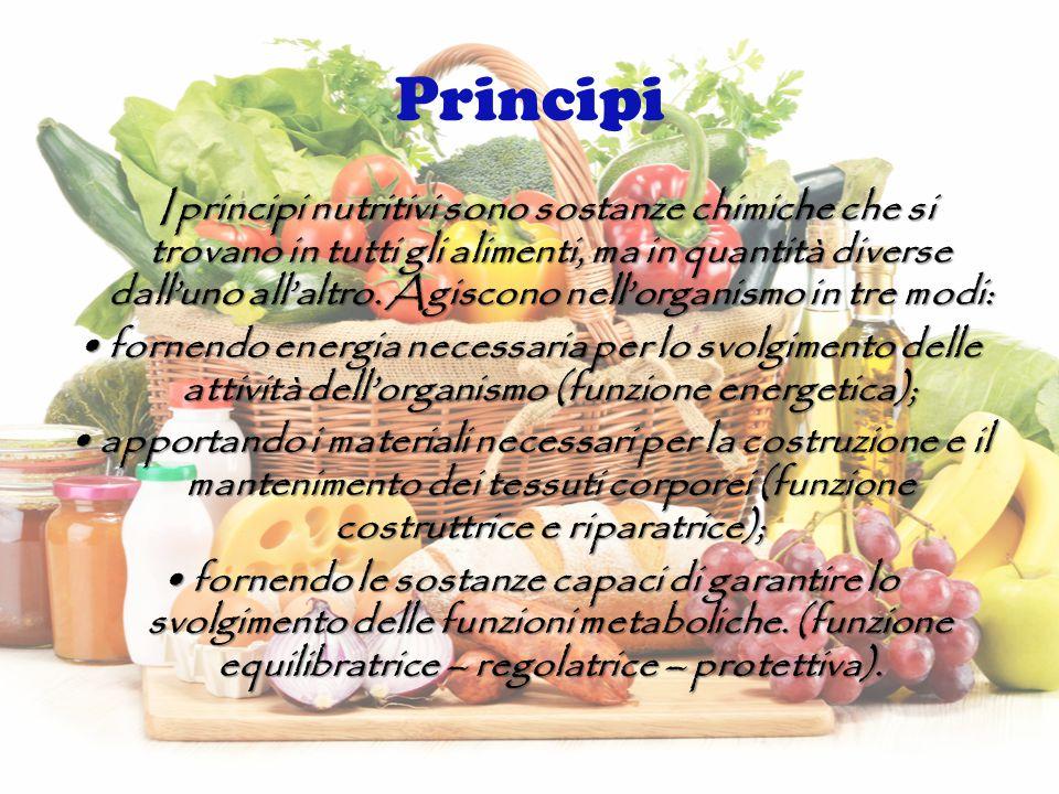 Principi I principi nutritivi sono sostanze chimiche che si trovano in tutti gli alimenti, ma in quantità diverse dall'uno all'altro.