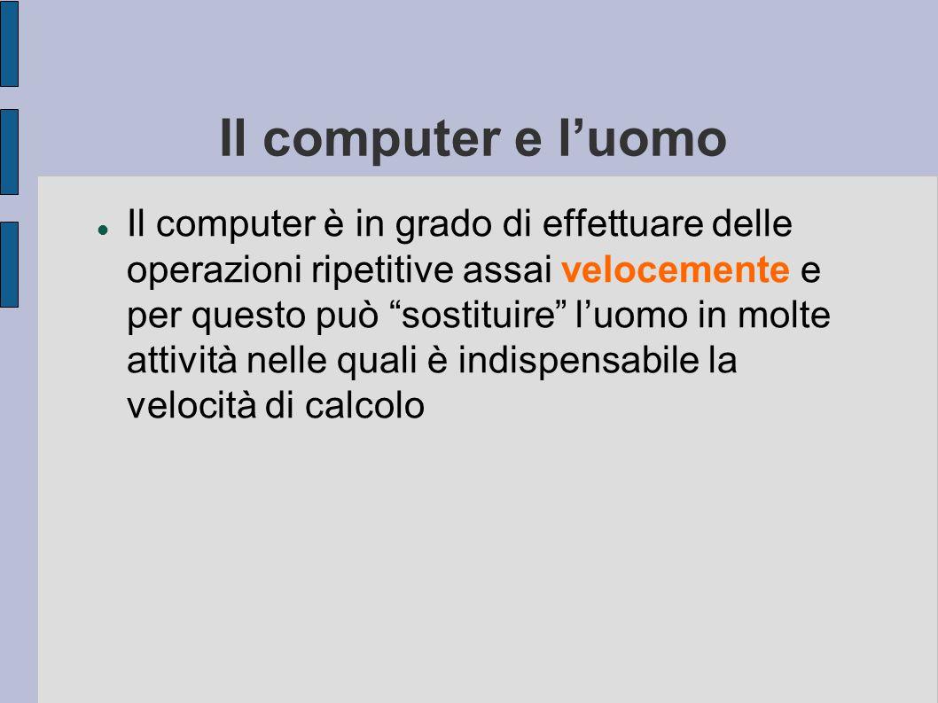 In sintesi… Il computer è utile per sostituire l'uomo in tutti i compiti ripetitivi o che necessitano di calcoli complessi, grazie alla capacità di el