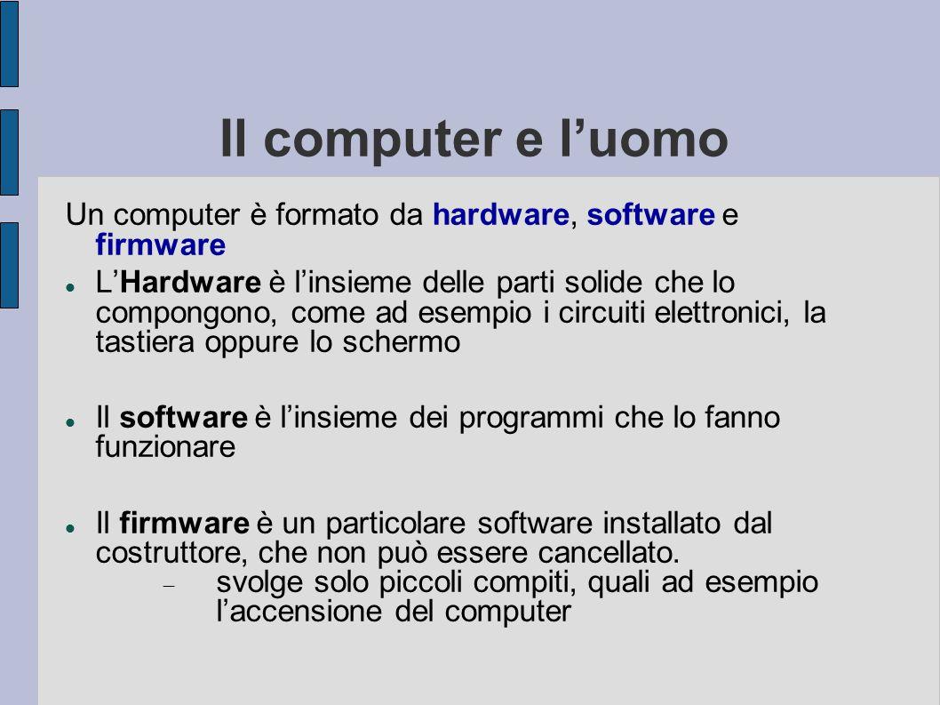 """Il computer e l'uomo Il computer è in grado di effettuare delle operazioni ripetitive assai velocemente e per questo può """"sostituire"""" l'uomo in molte"""