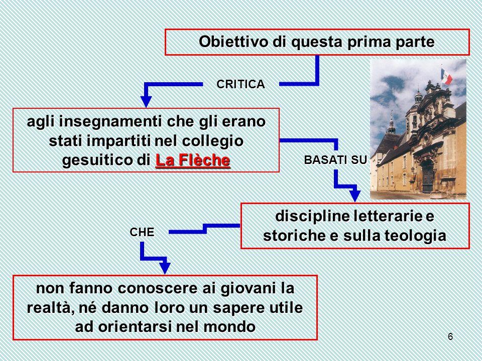 6 Obiettivo di questa prima parte CRITICA agli insegnamenti che gli erano stati impartiti nel collegio gesuitico di La Flèche BASATI SU discipline let