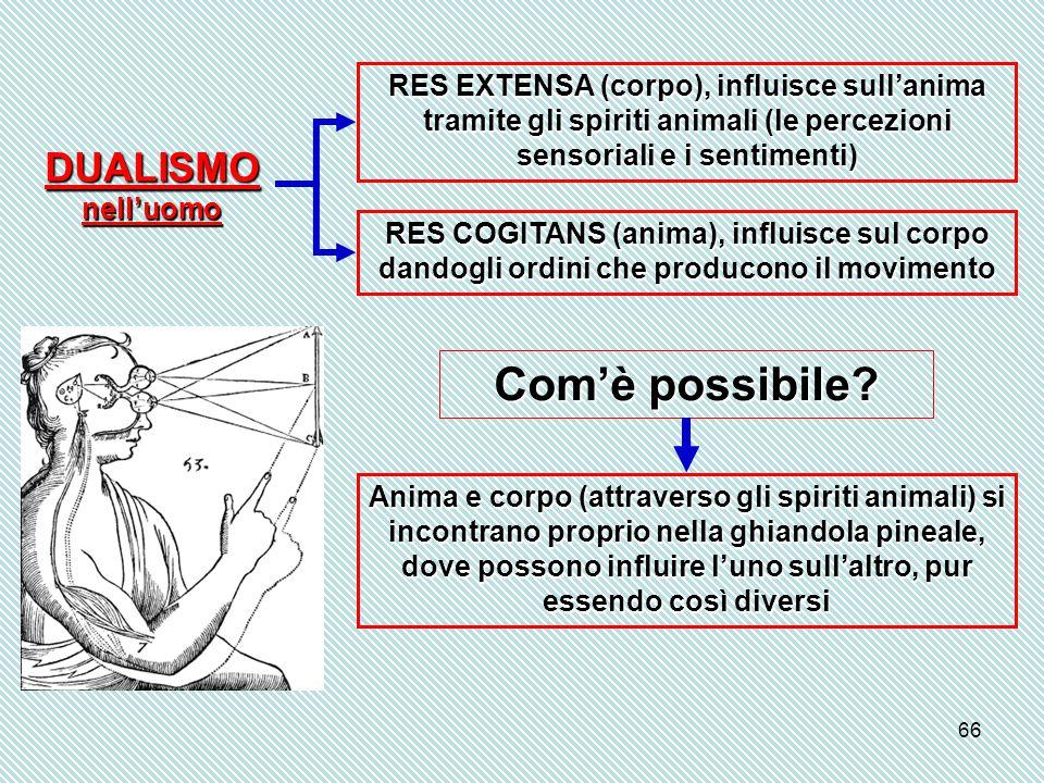 66 RES EXTENSA (corpo), influisce sull'anima tramite gli spiriti animali (le percezioni sensoriali e i sentimenti) RES COGITANS (anima), influisce sul corpo dandogli ordini che producono il movimento Com'è possibile.