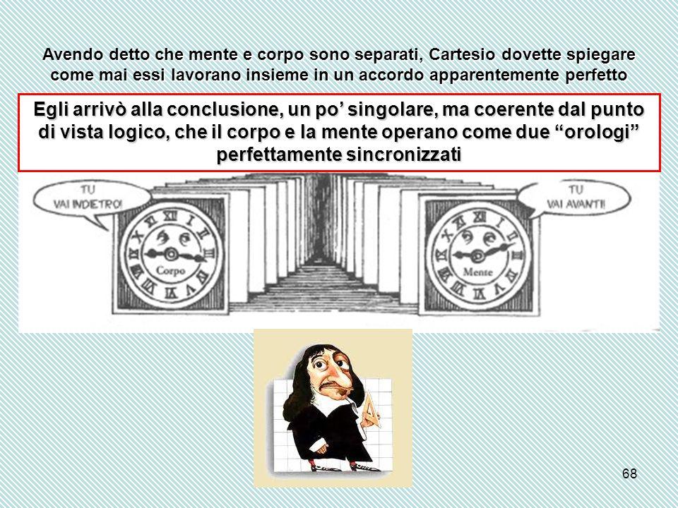 68 Avendo detto che mente e corpo sono separati, Cartesio dovette spiegare come mai essi lavorano insieme in un accordo apparentemente perfetto Egli a